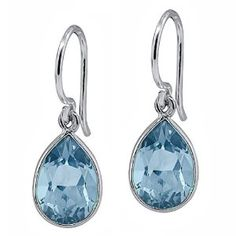 6.00 Ct Pear Shape Swiss Blue Topaz Sterling Silver Frenchwire Dangle Earrings available at joyfulcrown.com