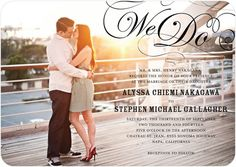 Signature White Wedding Invitations Stunning Flourish - Front : Black--- invitation with a picture of the couple...have this for the main picture
