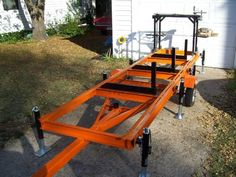 Home-Built Portable Chainsaw Mill Portable Bandsaw Mill, Portable Chainsaw Mill, Portable Saw Mill, Beginner Woodworking Projects, Welding Projects, Diy Wood Projects, Woodworking Plans, Homemade Chainsaw Mill, Homemade Bandsaw Mill