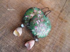 Boucles d'oreille vintage,bohème*Rose*Labradorite,pendentif et porcelaine de fabrication artisanale. : Boucles d'oreille par rare-et-sens