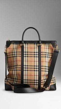 Large Horseferry Check Leather Tote Bag | Burberry