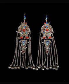 Mongolia   Pair of earrings, from the costume of Princess Balta; silver, precious and semi precious stones   ca. 1935 or earlier.   © Musée du quai Branly. 71.1935.115.124.1-2