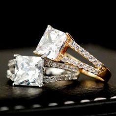 Cincin Kawin emas dan palladium dengan hiasan berlian yang cantik
