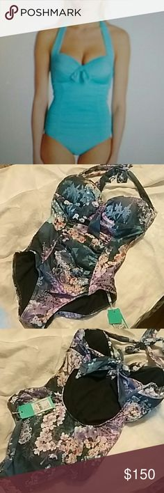 Seafolly Halter  Maillot Midnight   Swimsuit Multi Brand new w tag.  multi colored. Seafolly Swim One Pieces