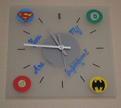 Superhero Logo Wall Clock - Valentines Day Gift For Him - Justice League - Geek - Superman Batman Flash Green Lantern, $30.00