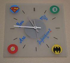 Superhero Logo Wall Clock - Valentines Day Gift For Him - Justice League - Geek - Superman Batman Flash Green Lantern, $30.00