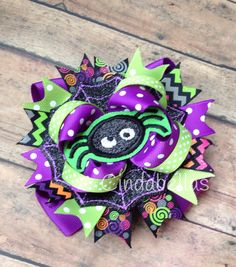 Halloween Spider Boutique Style Hair Bow by CindabellasBoutique on Etsy