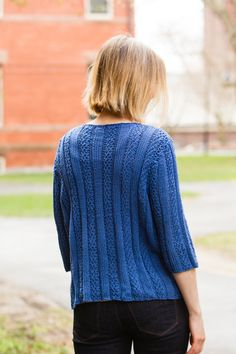 The Vertical Pullover by Nadya Stallings features clean lines in wearable Valley Yarns Southwick.