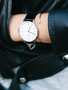 Daniel Wellington Classic Sheffield Watch in Rose Gold looks perfect mixed with delicate bracelets // Photo via Andy Heart