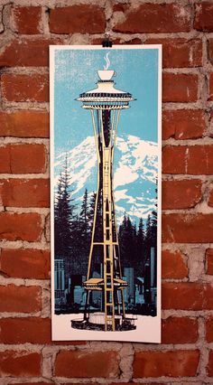 Space Coffee Seattle Screenprinted Art Print by nateduval on Etsy, $35.00