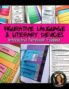 Editable Figurative Language Interactive Reading Notebook Activity Aligned with the Common Core State Standards (Grades 5-12; middle and high school) Teaching Literature, Teaching Reading, Teaching Strategies, Teaching Resources, Teaching Themes, School Fun, High School, Reading Notebooks, Interactive Student Notebooks