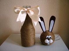 Zajíček / Zboží prodejce Zdenka Formankova | Fler.cz Easter Projects, Easter Crafts, Holiday Crafts, Projects To Try, Crafts To Sell, Diy And Crafts, Crafts For Kids, Wine Bottle Crafts, Bottle Art