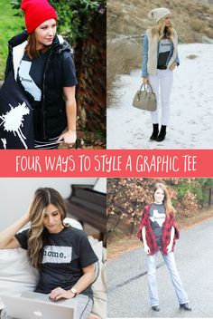 Wondering how to wear a graphic tee without looking like a slob? These four ways are adorable!