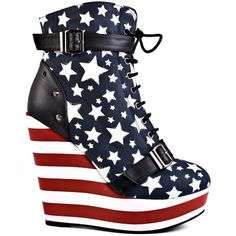 Stars and Stripes #Flag #Boots Iron Fist  				  				Allstar Platform Wedge - Red