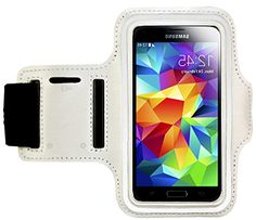 """myLife Clean White and Dolphin Gray {Rain Resistant Velcro Secure Running Armband} Dual-Fit with Key Slot Jogging Arm Strap Holder for Samsung Galaxy S5 """"All Ports Accessible"""" myLife Brand Products http://www.amazon.com/dp/B00SLP1G6S/ref=cm_sw_r_pi_dp_TsG-ub03EKP7V"""