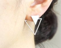 Triangles Front back Earrings / ear jackets, Choose your color / gold and silver Supernatural Style Dangle Earrings, Diamond Earrings, Silver Earrings, Front Back Earrings, Bling, Minimal Jewelry, Geometric Jewelry, Geometric Designs, Bijoux Diy