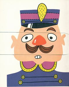 Flip Flop Face (1957) (Set: 16) Exquisite Corpse, Activity Bags, Picture Puzzles, Kids Learning Activities, Creative Play, Paper Toys, Classic Toys, Business For Kids, School Fun