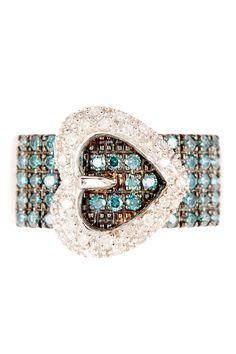 White & Blue Diamond Heart Buckle Ring - 0.75 ctw on HauteLook