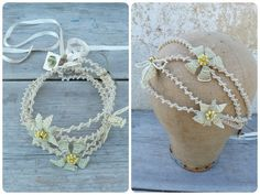 Handmade in France Isabelle Puissant PERLINE CREAM  large beaded diadema choker #IsabellePuissant