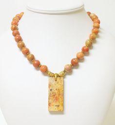 Orange+Aventurine+Necklace+with+a+Crysanthemum+by+mostlybeads