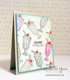 Michelle Y Design  Sweet birthday wishes with watercolored stamped images #cardmaking #etsy #watercolor
