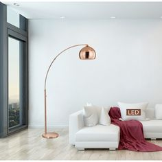 Artiva Alrigo 80 Rose Copper LED Arched Floor Lamp with Dimmer (LED - 100 W - Gold)