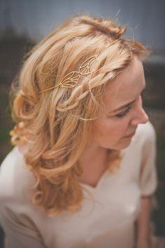 Bijou de tête Orphee - headband plaqué or 18k - tiare de mariage aile libellule art nouveau art deco boheme downtown abbey - FAIT SUR MESURE