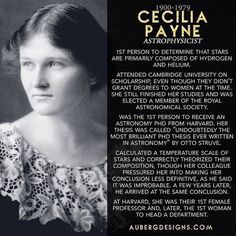 Women couldn't earn a degree even though they attended college on scholarships and did the same work. She discovered what the sun was composed of........