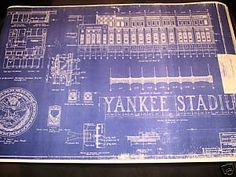 Look what i found at uncommongoods large baseball stadium new york yankee stadium 1923 blueprint rare white seal malvernweather Image collections