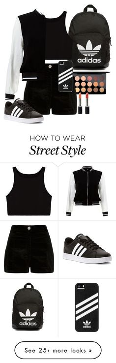 """Street style"" by seventeene on Polyvore featuring MAC Cosmetics, River Island, adidas, adidas Originals, New Look, Terre Mère, tokyo and Packandgo"