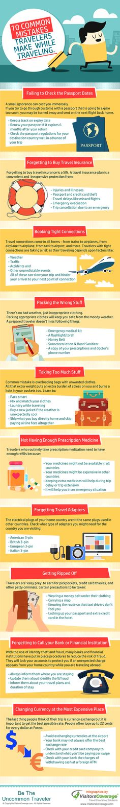 Top 10 Most Common Mistakes Travelers Make While Traveling #infographics #exploremore #travel — Lightscap3s.com