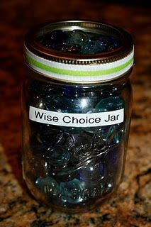 """A wise choice jar. We started this about 2 weeks ago and it's GREAT for positive reinforcement. We use a large applesauce jar with 3 different marks on it for 3 different levels of """"gifts"""", each one getting bigger the higher up the marbles get in the jar. Activities For Kids, Crafts For Kids, Make Good Choices, Positive Reinforcement, School Counseling, Cool Kids, Kids Work, Raising Kids, Parenting Hacks"""