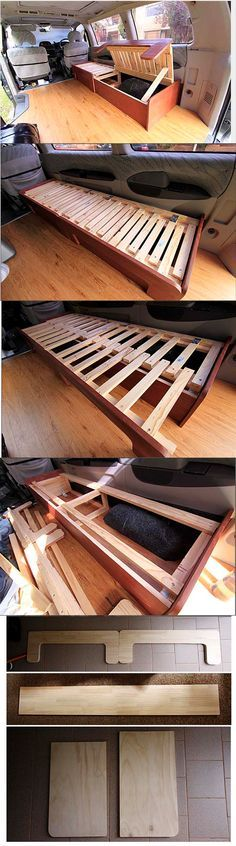 DIY sofabed / http://www.vagabonderz.com/building-the-sofabed/.   Space for second MATRESS underneath?