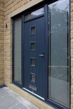 Bespoke Genoa composite door in Grey with integrated side panels and top light.