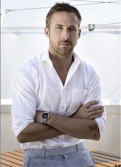 Classic white shirt. Tailored trousers. Watch. Nod to Ryan Gosling.