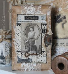 Vintage Inspired: altered cigar box Altered Cigar Boxes, Altered Tins, Altered Art, Collage Book, Mixed Media Collage, Shabby Chic Crafts, Vintage Crafts, Art Altéré, Cigar Box Crafts