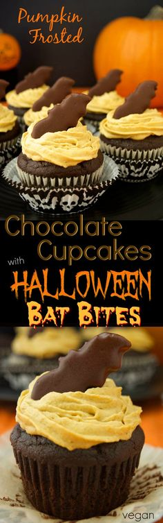 Pumpkin Frosted Chocolate Cupcakes with Bat Bites are a healthier vegan dessert. The frosting is made from whipped coconut cream and real pumpkin puree. These chocolatey cupcakes are topped with a gluten-free thin mint bat cookie!