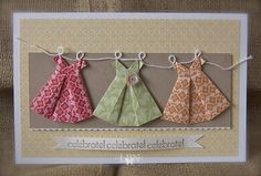 Sweet little origami dresses. #stampinup Awesome birthday invites!
