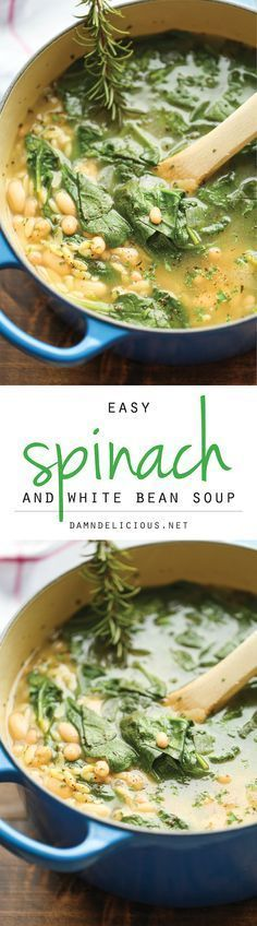 Spinach and White Bean Soup - A healthy and hearty, comforting soup - chock full of fresh spinach, white beans and orzo pasta - made in less than 30 min! (Soup And Sandwich Recipes) Vegetarian Recipes, Cooking Recipes, Healthy Recipes, Healthy Beans, Easy Recipes, Vegan Soups, Bean Crockpot Recipes, Cooking Ribs, Healthy Soup Recipes