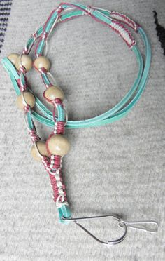 Leather lanyard in mint with beads natural by MatchingTreeDesigns