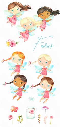 Fairies Watercolor magic clipart little girls dark skins Fairy Clipart, 2 Clipart, Easy Watercolor, Floral Watercolor, Watercolour, Watercolor Paintings, Conception Web, Web Design, Girl With Hat