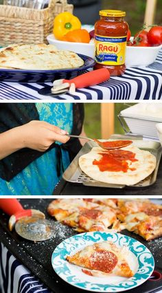 Yay! A meal that the kids can help create. Just a few easy steps for a grilled pizza using @ragusauce #recipe #ad #saucesome *Love naan bread. YUM.