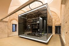 tabanlioglu architects library designboom - lighted glass cube - ald stone architecture -