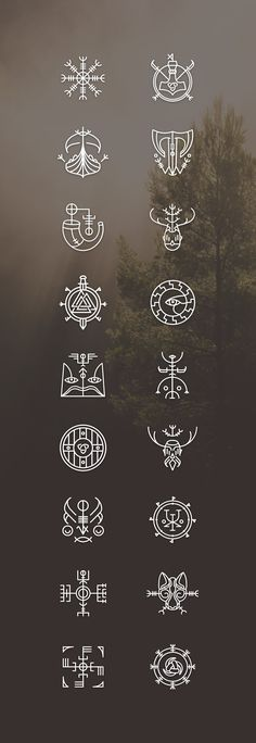 Vikons: the Striking Viking icon set by blanaroo o. - Vikons: the Striking Viking icon set by blanaroo o. Magic Symbols, Viking Symbols, Viking Runes, Ancient Symbols, Egyptian Symbols, Simbolos Tattoo, Norse Tattoo, Body Art Tattoos, Cool Tattoos