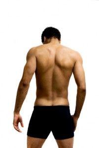 A man's back, shoulders, and shoulder blades <3