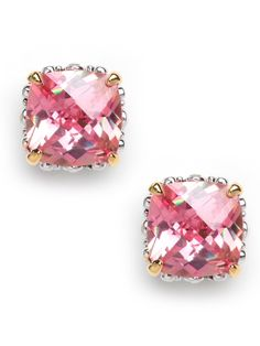 these peach cushion cut studs SLAY ME!  baublebar.com    Oversized glass stud earrings in an ultimately wearable hue are the prettiest understated accent. Glass pink cushion cut stones are set in a gold-tone base.