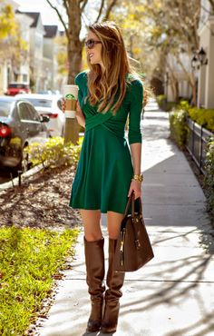 Diary of a Debutante: Preemptively Pinch Proof: Double Cross Green Dress + The Mint Julep Giveaway - Total Street Style Looks And Fashion Outfit Ideas Mini Dress With Sleeves, Dress With Boots, The Dress, Winter Dresses With Boots, Green Dress Outfit, Dress Outfits, Green Dress Casual, Sweater Dresses, Mint Green Outfit Ideas