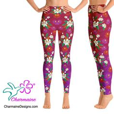 Spandex Material, Polyester Spandex, Printed Yoga Pants, Exotic Beauties, Purple Backgrounds, Red Purple, Yoga Leggings, Magnolia, Pants For Women