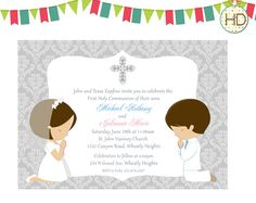 5e22c97b7138b20b44c7730fcd4cc1c8 communion invitations printable invitations boy and girl twins first communion invitation important,First Communion Invitations For Boy Girl Twins