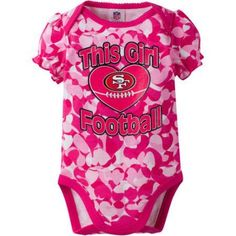 NFL San Francisco 49ers Baby Girls Short Sleeve Heart Camo Bodysuit, Infant Girl's, Size: 3 - 6 Months, Pink